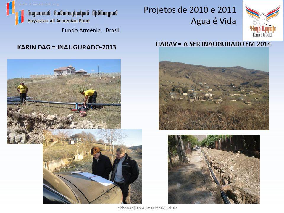 Fundo Armênia - Brasil Jcbboyadjian e jmariohadjinlian Projetos de 2010 e 2011 Agua é Vida KARIN DAG = INAUGURADO-2013 HARAV = A SER INAUGURADO EM 201