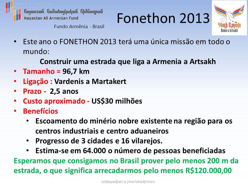 Fundo Armênia - Brasil Jcbboyadjian e jmariohadjinlian Fonethon 2013 Este ano o FONETHON 2013 terá uma única missão em todo o mundo: Construir uma est