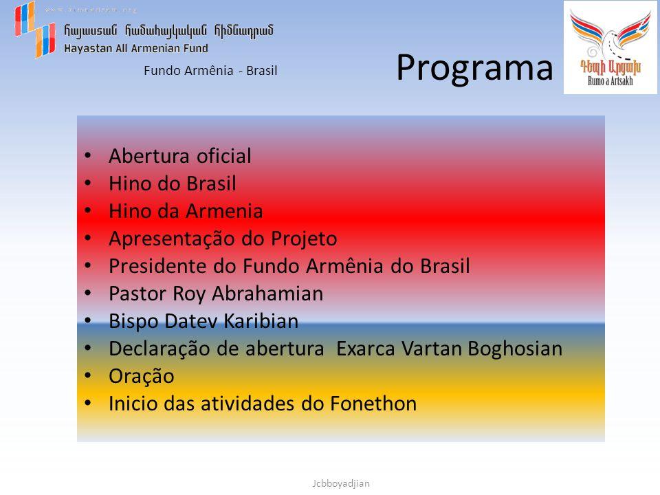 Fundo Armênia - Brasil Jcbboyadjian Programa Abertura oficial Hino do Brasil Hino da Armenia Apresentação do Projeto Presidente do Fundo Armênia do Br