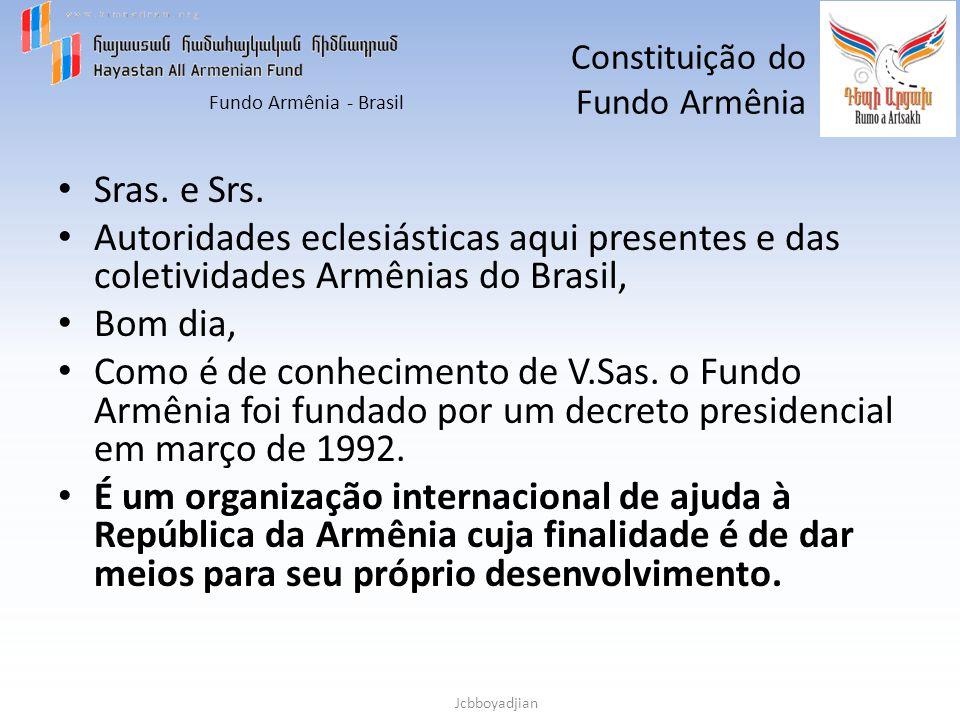 Fundo Armênia - Brasil Jcbboyadjian Constituição do Fundo Armênia Os objetivos principais do Fundo Armenia são: – Construção de infra-estrutura (moradia, escolas, hospitais, pronto socorros, estradas, redes de abastecimento de água, gás e eletricidade).