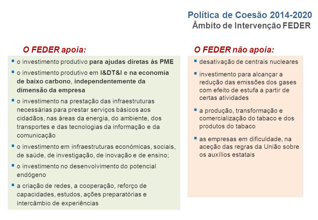 Âmbito de Intervenção FEDER  o investimento produtivo para ajudas diretas às PME  o investimento produtivo em I&DT&I e na economia de baixo carbono,