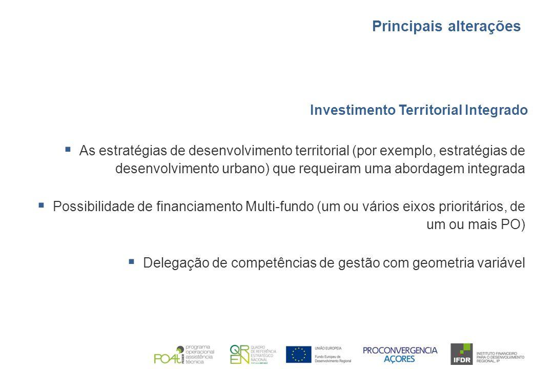 Investimento Territorial Integrado  As estratégias de desenvolvimento territorial (por exemplo, estratégias de desenvolvimento urbano) que requeiram