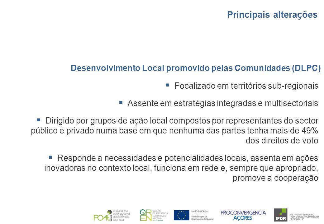 Desenvolvimento Local promovido pelas Comunidades (DLPC)  Focalizado em territórios sub-regionais  Assente em estratégias integradas e multisectoria