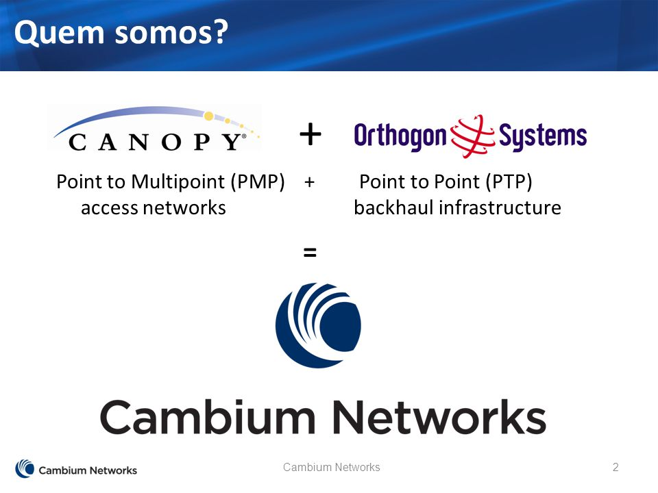 Cambium Networks2 Quem somos? + Point to Multipoint (PMP) + Point to Point (PTP) access networks backhaul infrastructure =