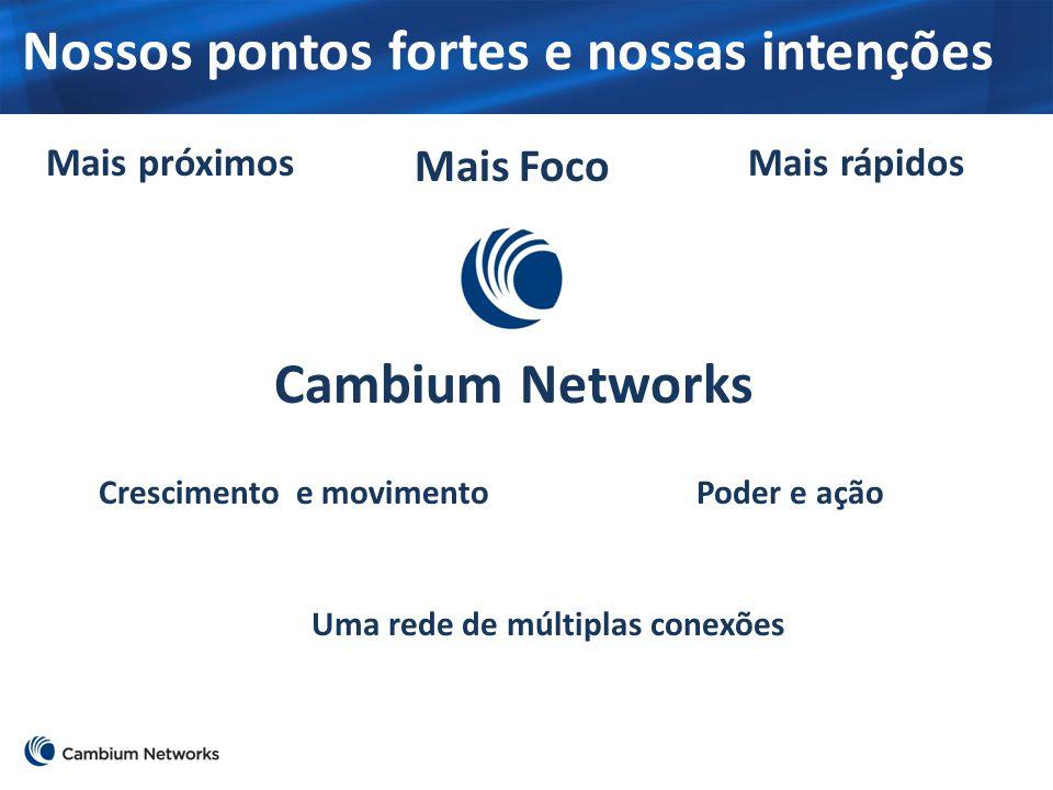 Nossos pontos fortes e nossas intenções Mais próximosMais rápidos Mais Foco Crescimento e movimentoPoder e ação Uma rede de múltiplas conexões Cambium