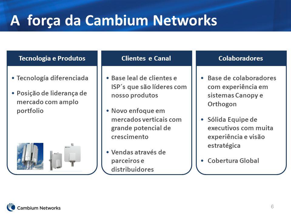 A força da Cambium Networks 6 Base de colaboradores com experiência em sistemas Canopy e Orthogon Sólida Equipe de executivos com muita experiência e