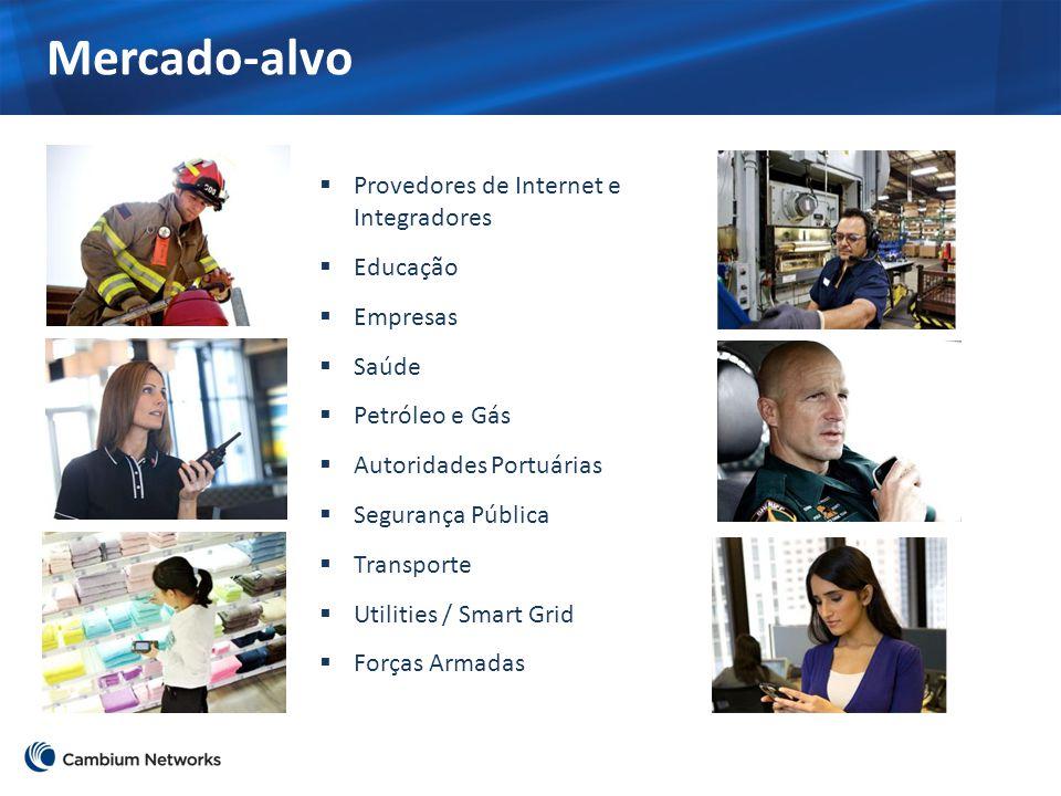 Mercado-alvo  Provedores de Internet e Integradores  Educação  Empresas  Saúde  Petróleo e Gás  Autoridades Portuárias  Segurança Pública  Tra