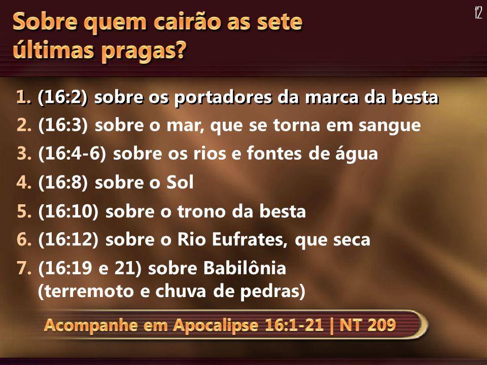 1. (16:2) sobre os portadores da marca da besta 2. (16:3) sobre o mar, que se torna em sangue 3. (16:4-6) sobre os rios e fontes de água 4. (16:8) sob