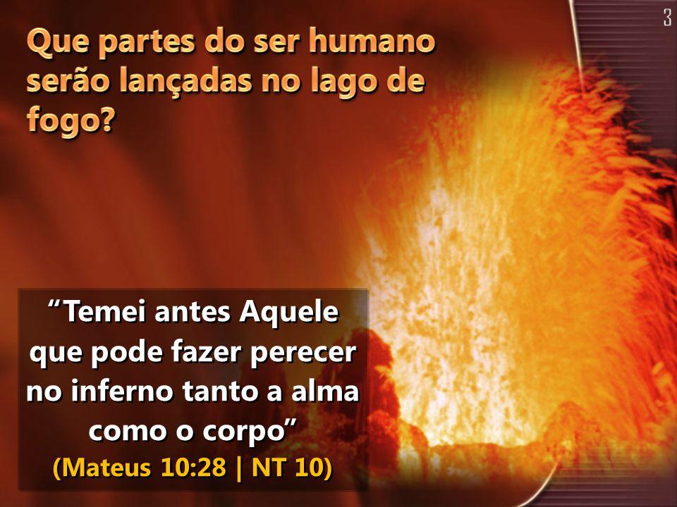 """Temei antes Aquele que pode fazer perecer no inferno tanto a alma como o corpo"" (Mateus 10:28 | NT 10)"