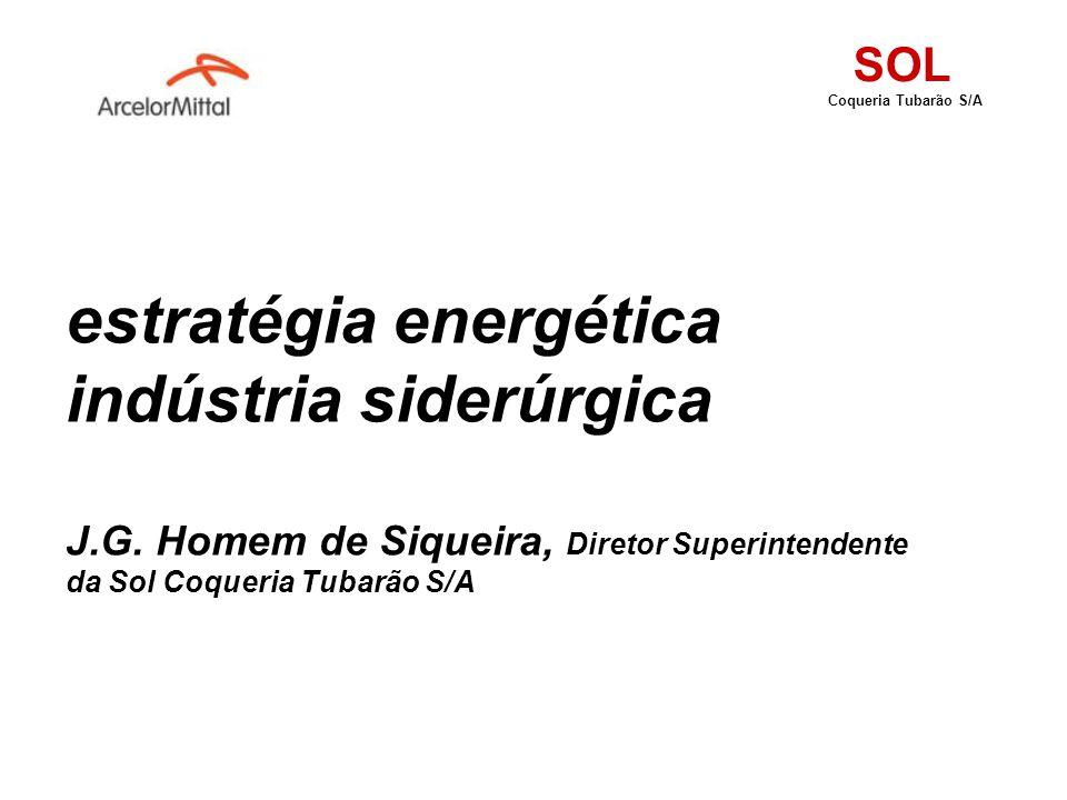 estratégia energética indústria siderúrgica J.G. Homem de Siqueira, Diretor Superintendente da Sol Coqueria Tubarão S/A SOL Coqueria Tubarão S/A