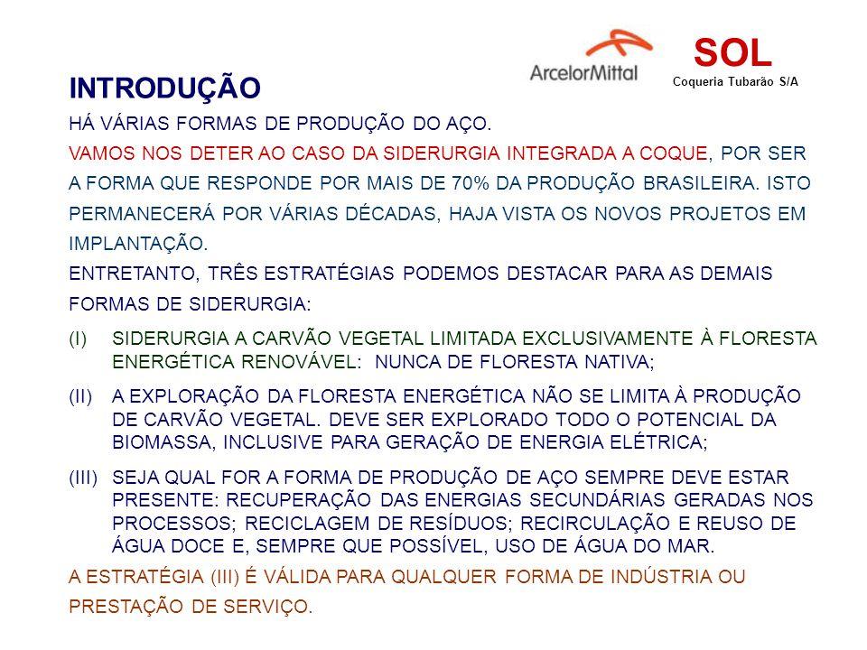 O ENERGÉTICO DA SIDERURGIA A COQUE O principal insumo energético utilizado pela siderurgia integrada a coque é o carvão mineral (nas formas coqueificável, finos de carvão e antracito).