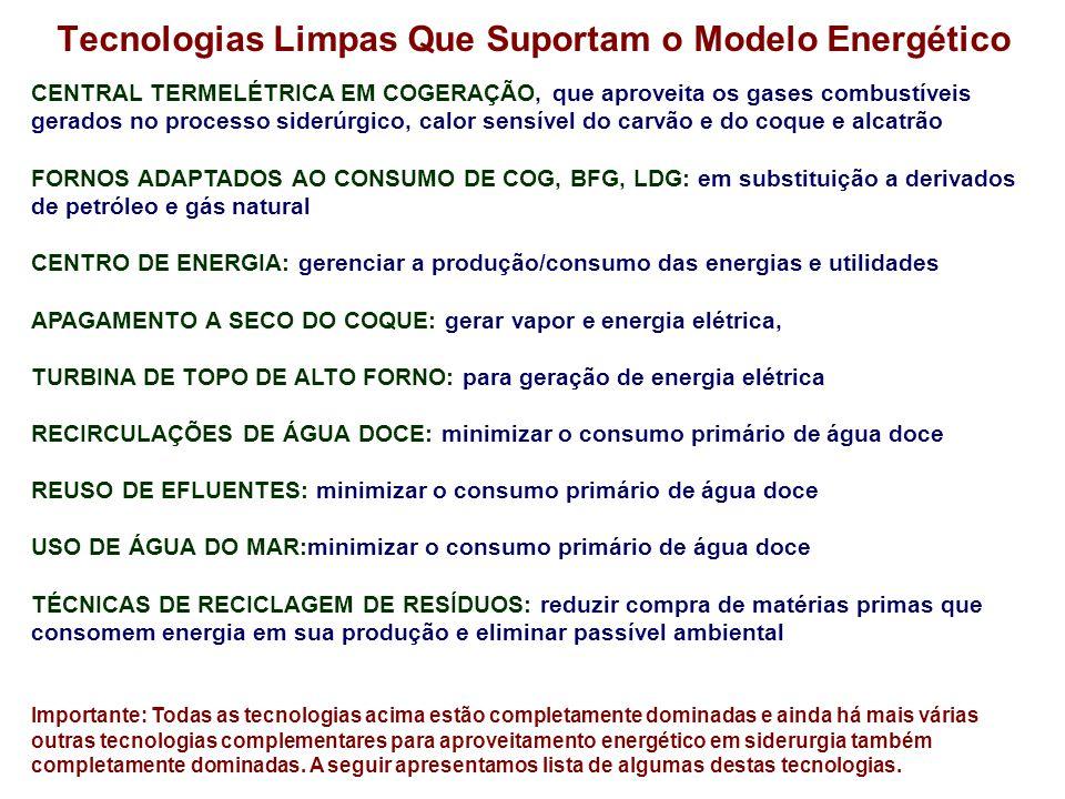 Tecnologias Limpas Que Suportam o Modelo Energético CENTRAL TERMELÉTRICA EM COGERAÇÃO, que aproveita os gases combustíveis gerados no processo siderúrgico, calor sensível do carvão e do coque e alcatrão FORNOS ADAPTADOS AO CONSUMO DE COG, BFG, LDG: em substituição a derivados de petróleo e gás natural CENTRO DE ENERGIA: gerenciar a produção/consumo das energias e utilidades APAGAMENTO A SECO DO COQUE: gerar vapor e energia elétrica, TURBINA DE TOPO DE ALTO FORNO: para geração de energia elétrica RECIRCULAÇÕES DE ÁGUA DOCE: minimizar o consumo primário de água doce REUSO DE EFLUENTES: minimizar o consumo primário de água doce USO DE ÁGUA DO MAR:minimizar o consumo primário de água doce TÉCNICAS DE RECICLAGEM DE RESÍDUOS: reduzir compra de matérias primas que consomem energia em sua produção e eliminar passível ambiental Importante: Todas as tecnologias acima estão completamente dominadas e ainda há mais várias outras tecnologias complementares para aproveitamento energético em siderurgia também completamente dominadas.