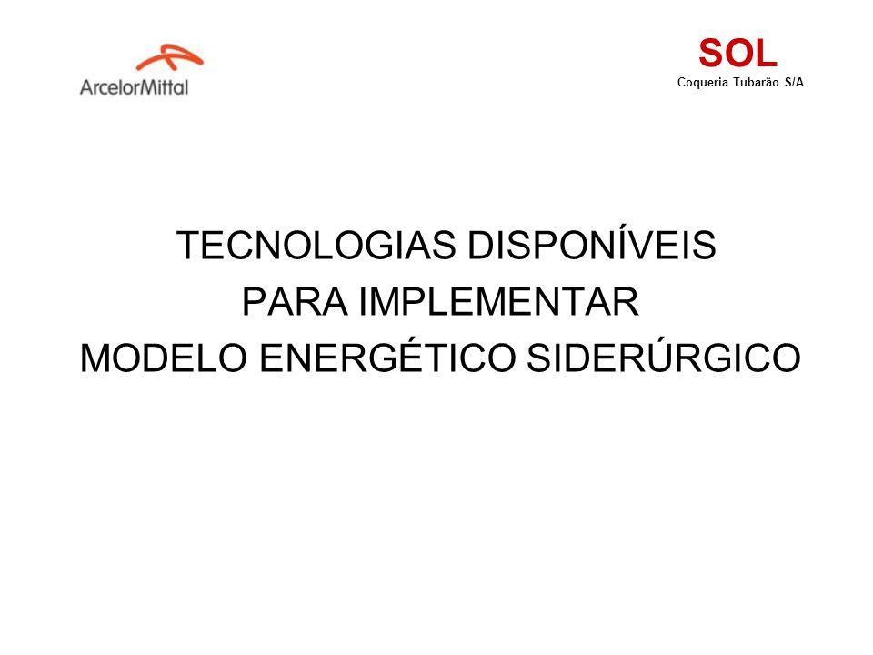 TECNOLOGIAS DISPONÍVEIS PARA IMPLEMENTAR MODELO ENERGÉTICO SIDERÚRGICO SOL Coqueria Tubarão S/A