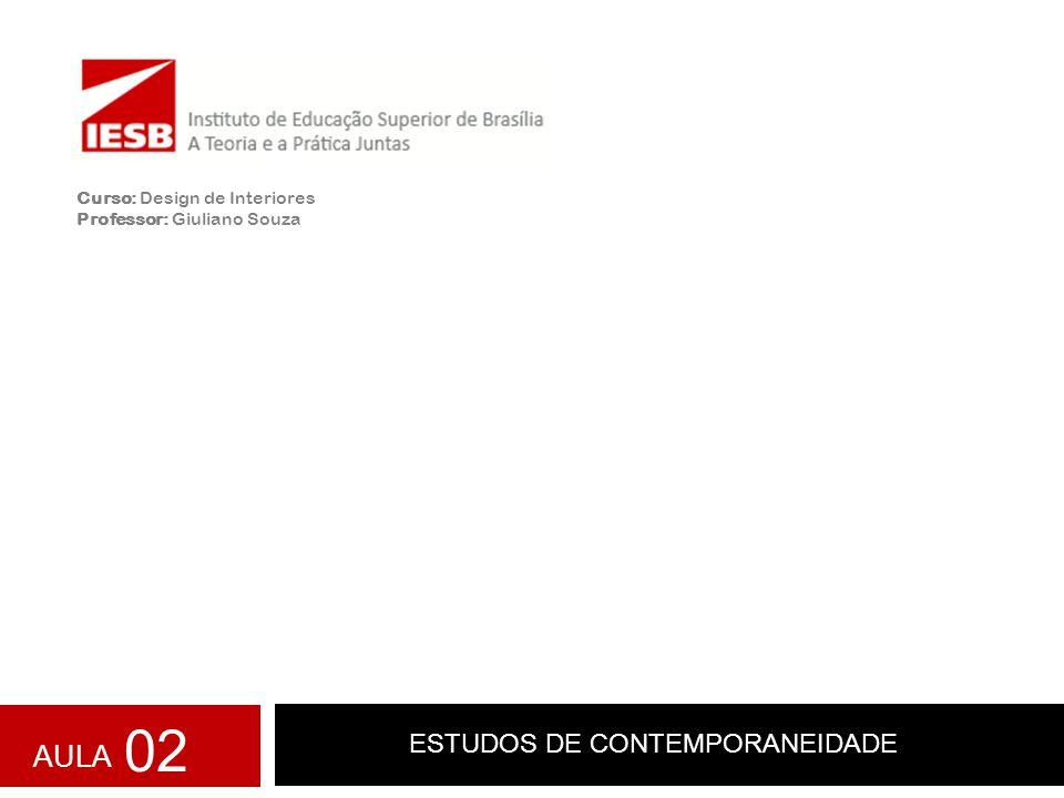 ESTUDOS DE CONTEMPORANEIDADE Curso: Design de Interiores Professor: Giuliano Souza AULA 02