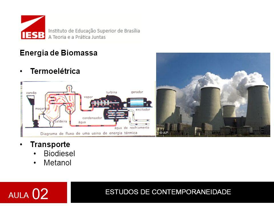 ESTUDOS DE CONTEMPORANEIDADE Energia de Biomassa Termoelétrica Transporte Biodiesel Metanol AULA 02