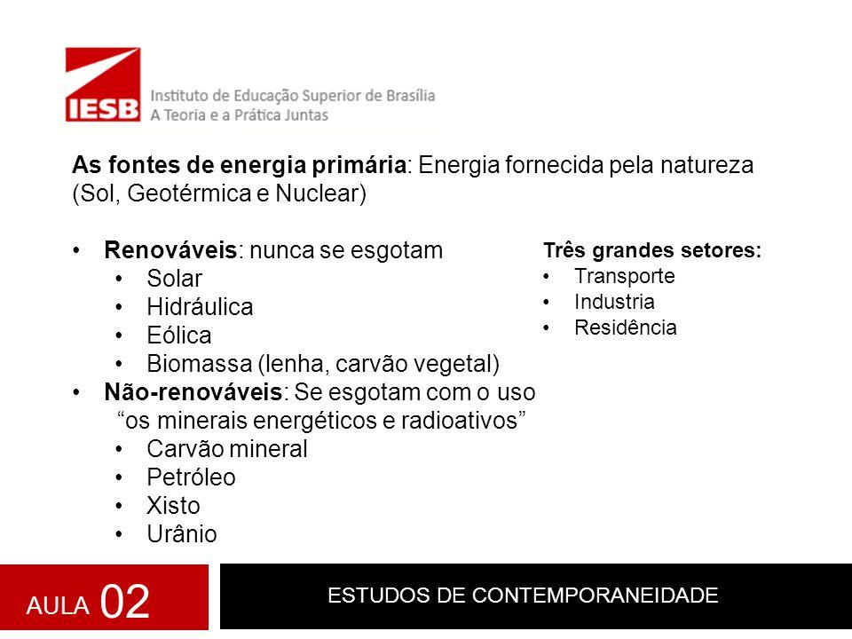 ESTUDOS DE CONTEMPORANEIDADE AULA 02 As fontes de energia primária: Energia fornecida pela natureza (Sol, Geotérmica e Nuclear) Renováveis: nunca se e