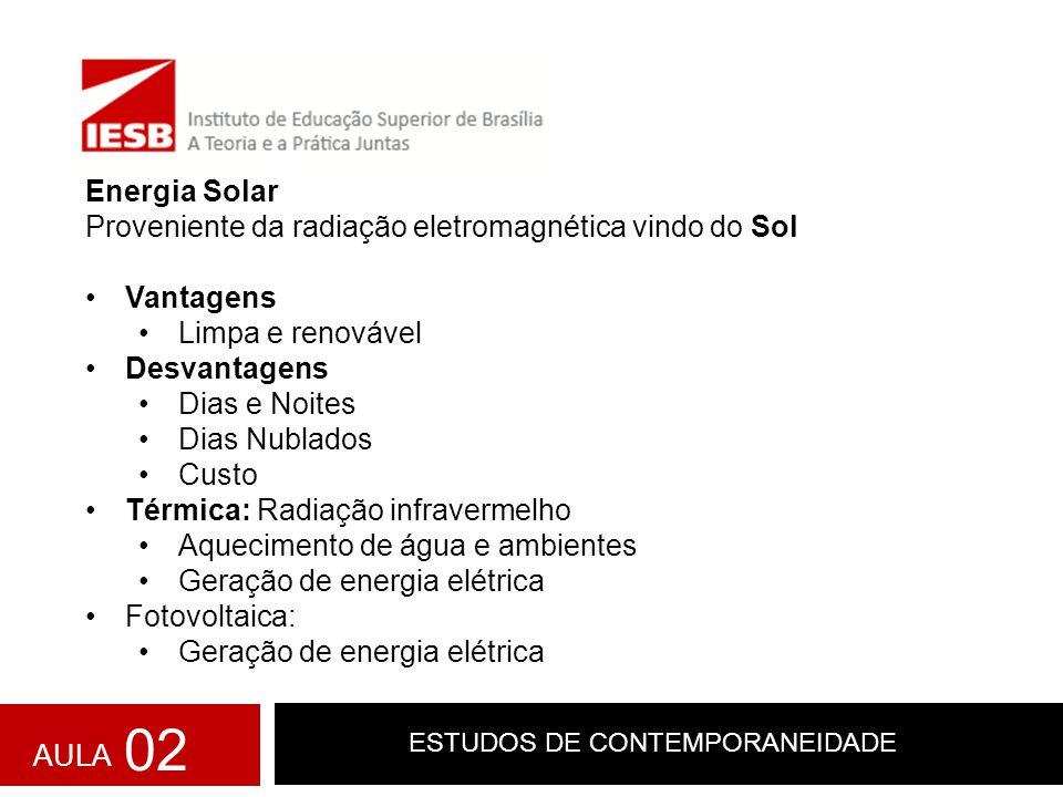 ESTUDOS DE CONTEMPORANEIDADE Energia Solar Proveniente da radiação eletromagnética vindo do Sol Vantagens Limpa e renovável Desvantagens Dias e Noites
