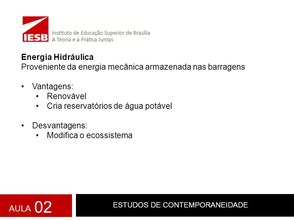 ESTUDOS DE CONTEMPORANEIDADE Energia Hidráulica Proveniente da energia mecânica armazenada nas barragens Vantagens: Renovável Cria reservatórios de ág