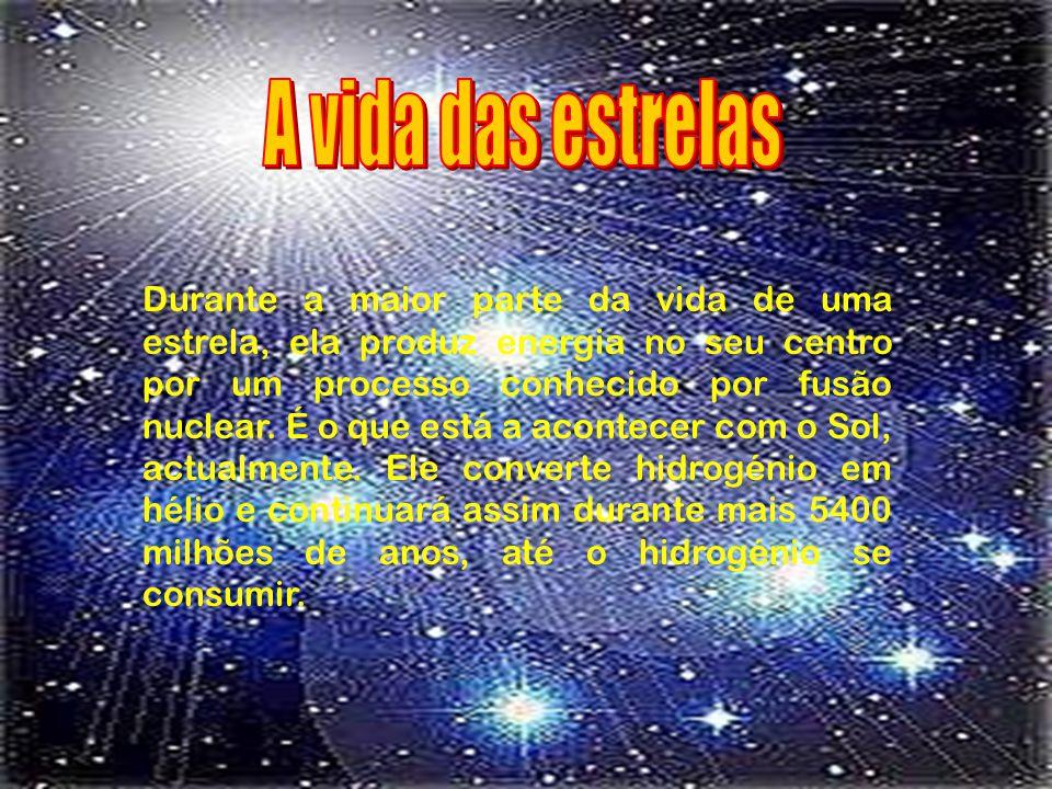 Cada estrela consiste numa enorme bola de gás que produz energia.
