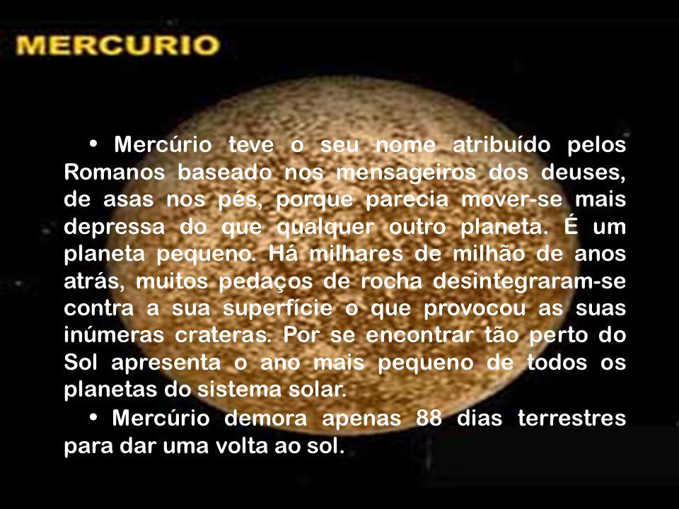 Mercúrio teve o seu nome atribuído pelos Romanos baseado nos mensageiros dos deuses, de asas nos pés, porque parecia mover-se mais depressa do que qualquer outro planeta.