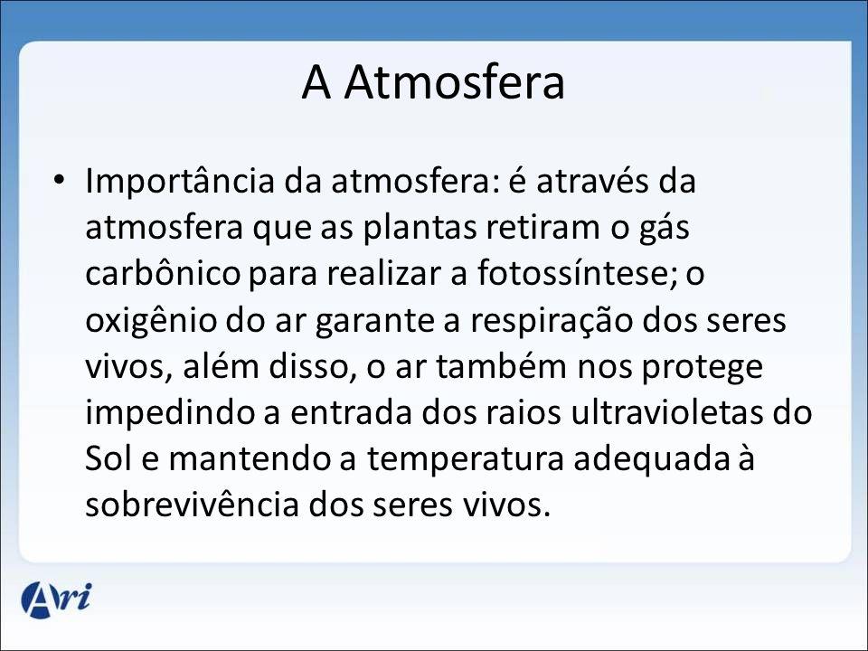A Atmosfera Importância da atmosfera: é através da atmosfera que as plantas retiram o gás carbônico para realizar a fotossíntese; o oxigênio do ar gar