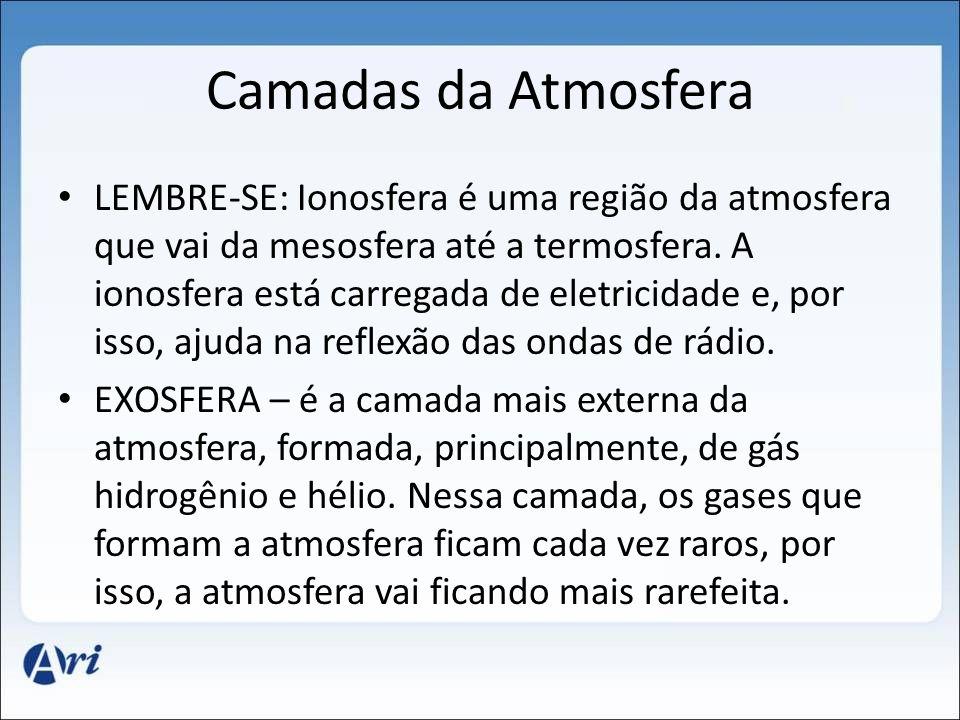 Camadas da Atmosfera LEMBRE-SE: Ionosfera é uma região da atmosfera que vai da mesosfera até a termosfera. A ionosfera está carregada de eletricidade
