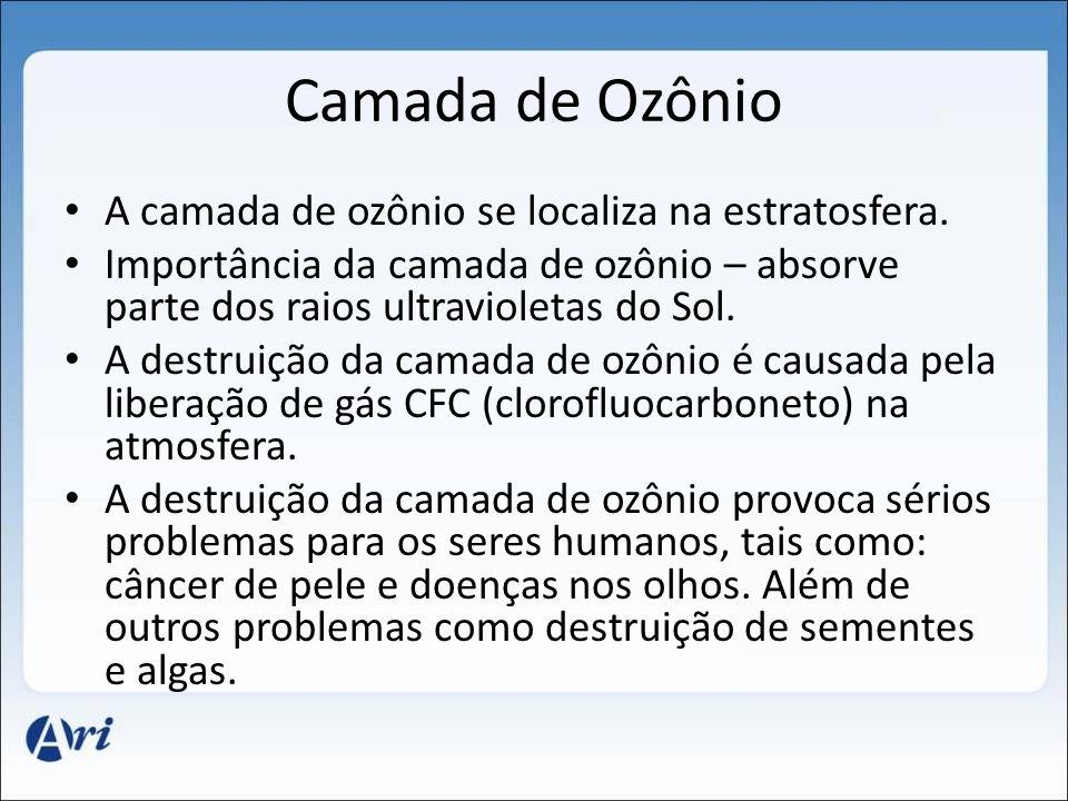 Camada de Ozônio A camada de ozônio se localiza na estratosfera. Importância da camada de ozônio – absorve parte dos raios ultravioletas do Sol. A des