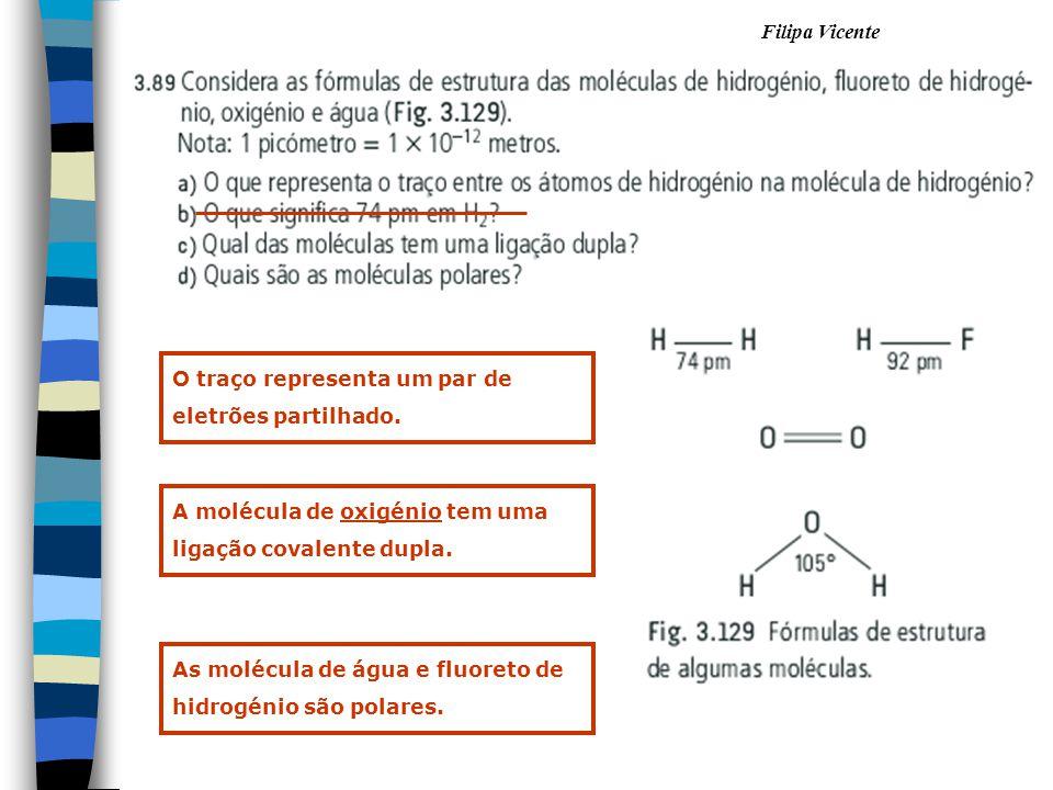 Filipa Vicente O traço representa um par de eletrões partilhado. A molécula de oxigénio tem uma ligação covalente dupla. As molécula de água e fluoret