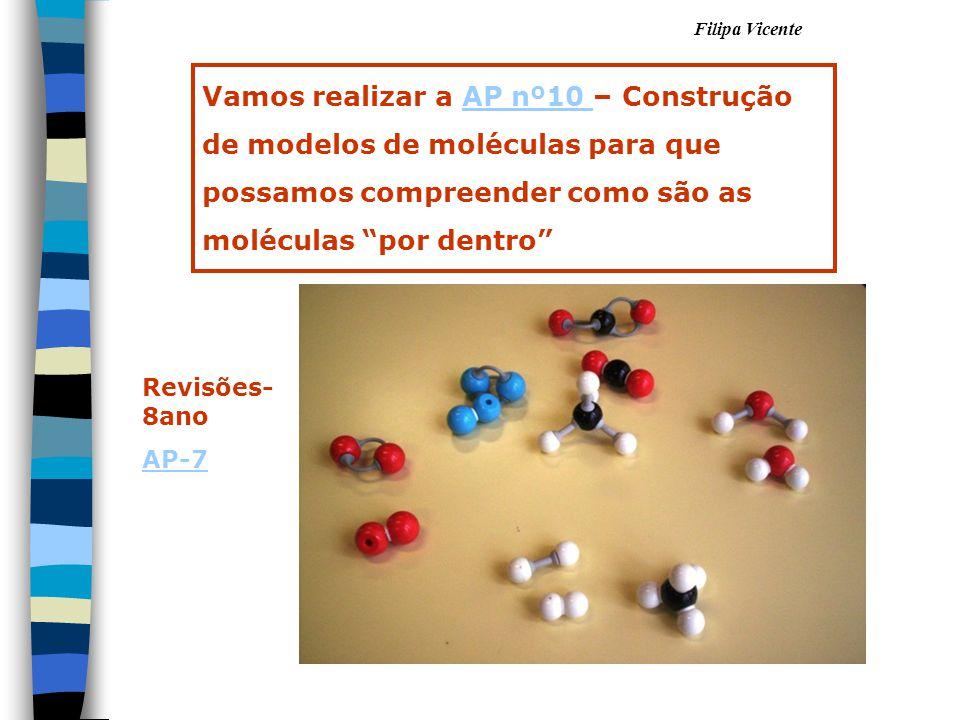 """Filipa Vicente Vamos realizar a AP nº10 – Construção de modelos de moléculas para que possamos compreender como são as moléculas """"por dentro""""AP nº10 R"""
