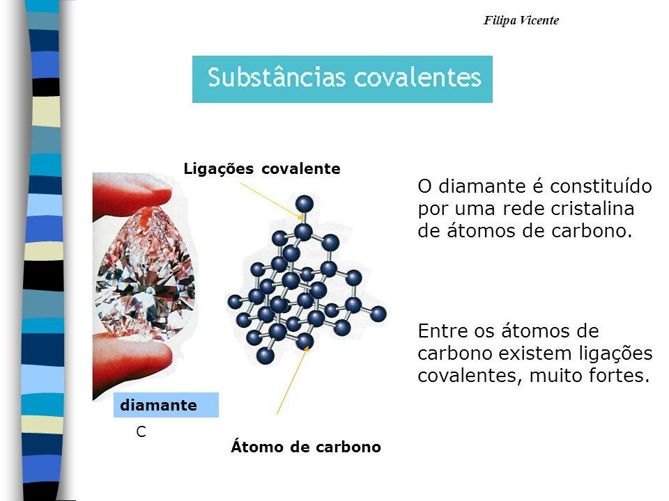 Átomo de carbono O diamante é constituído por uma rede cristalina de átomos de carbono. Entre os átomos de carbono existem ligações covalentes, muito