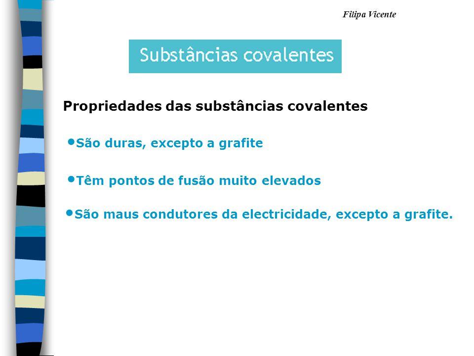 Filipa Vicente Propriedades das substâncias covalentes São duras, excepto a grafite Têm pontos de fusão muito elevados São maus condutores da electric