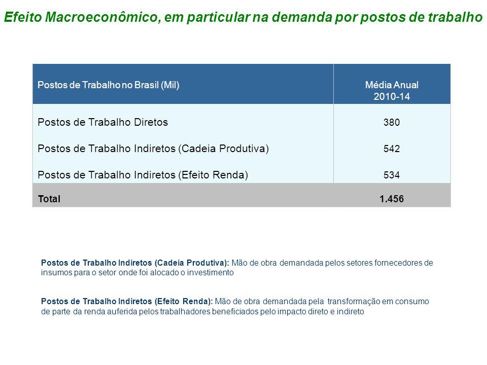 Postos de Trabalho no Brasil (Mil)Média Anual 2010-14 Postos de Trabalho Diretos 380 Postos de Trabalho Indiretos (Cadeia Produtiva) 542 Postos de Tra