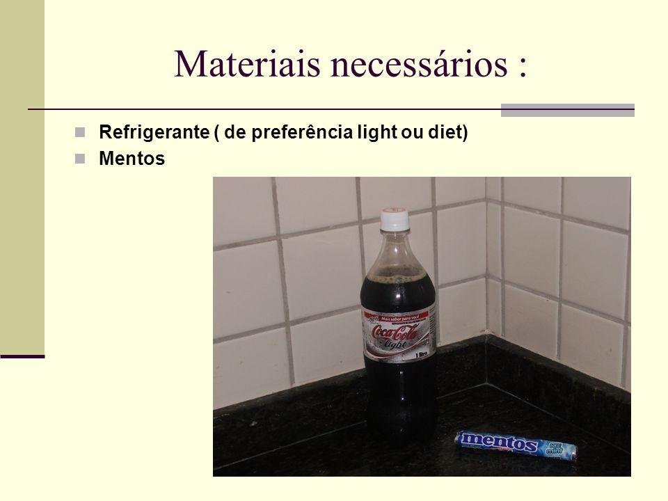 Materiais necessários : Refrigerante ( de preferência light ou diet) Mentos