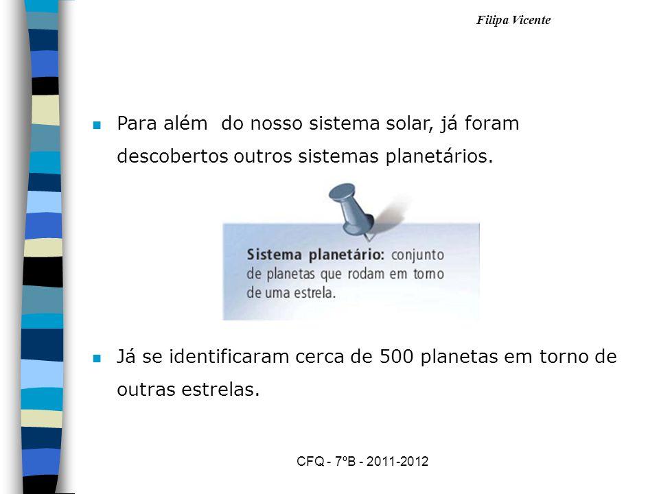 Filipa Vicente CFQ - 7ºB - 2011-2012 nOnO nosso sistema solar tem oito planetas que giram à volta do Sol.
