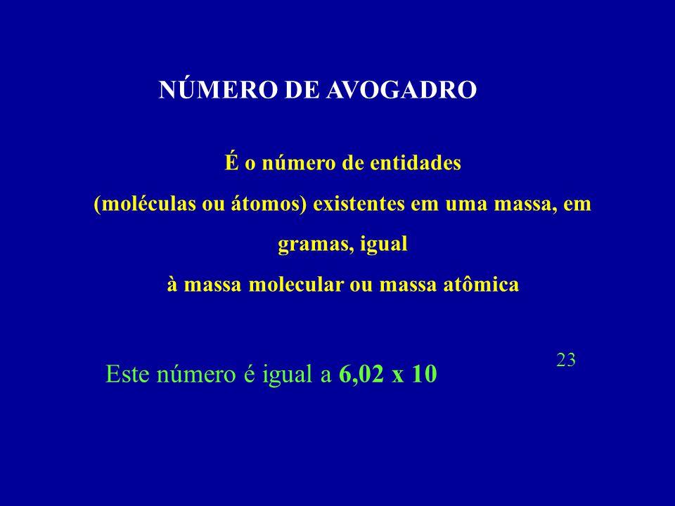 NÚMERO DE AVOGADRO É o número de entidades (moléculas ou átomos) existentes em uma massa, em gramas, igual à massa molecular ou massa atômica Este núm