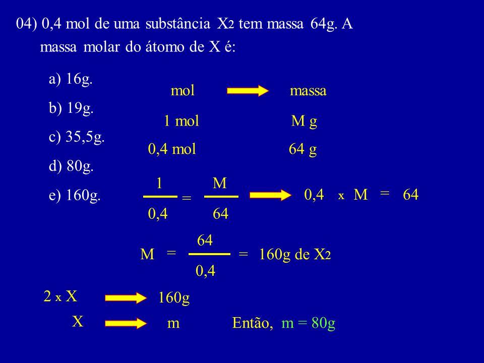 04) 0,4 mol de uma substância X 2 tem massa 64g. A massa molar do átomo de X é: a) 16g. b) 19g. c) 35,5g. d) 80g. e) 160g. molmassa 1 molM g 0,4 mol64