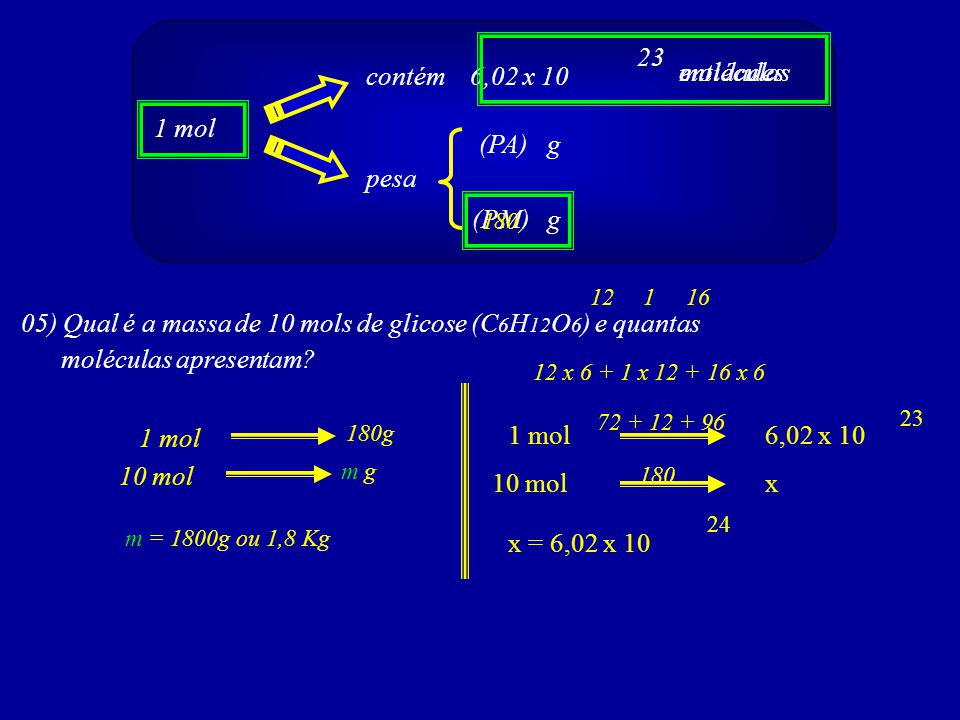 1 mol contém 6,02 x 10 pesa (PA) (PM)g g 23 entidades moléculas 05) Qual é a massa de 10 mols de glicose (C 6 H 12 O 6 ) e quantas moléculas apresenta