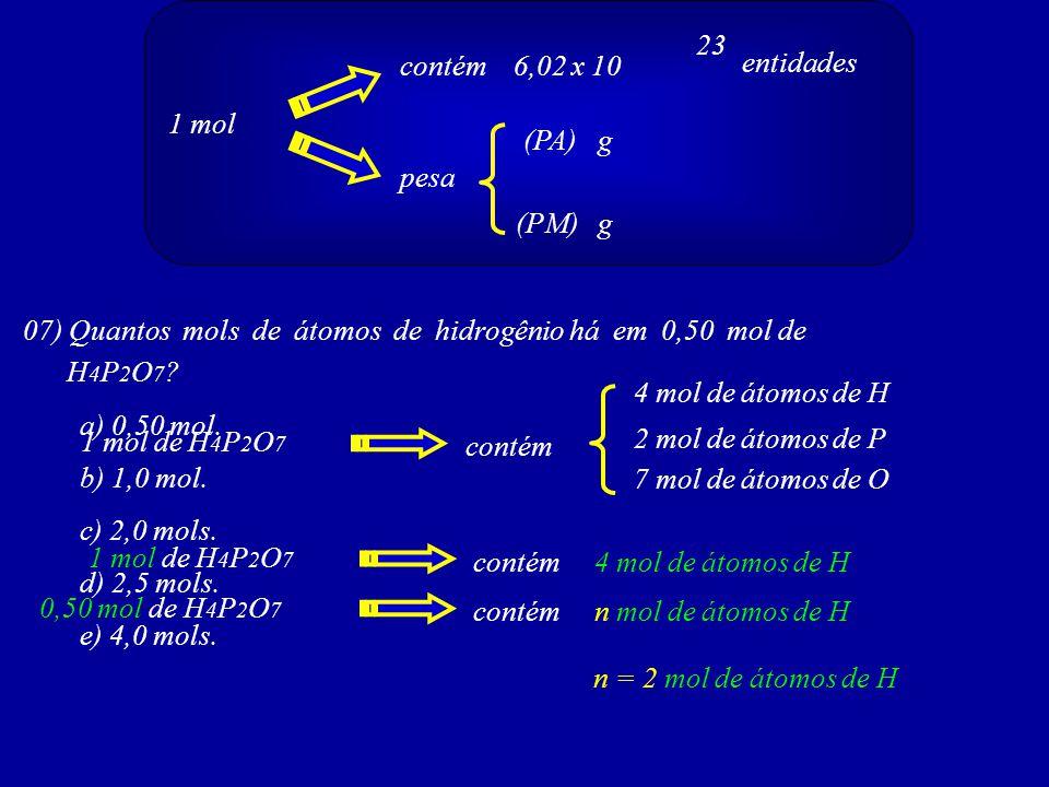1 mol contém 6,02 x 10 pesa (PA) (PM)g g 23 entidades 07) Quantos mols de átomos de hidrogênio há em 0,50 mol de H 4 P 2 O 7 ? 1 mol de H 4 P 2 O 7 co