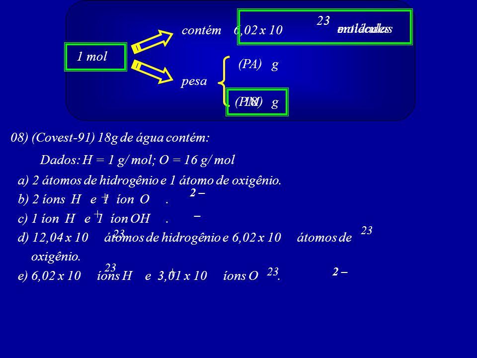 1 mol contém 6,02 x 10 pesa (PA) (PM)g g 23 + entidadesmoléculas 08) (Covest-91) 18g de água contém: Dados: H = 1 g/ mol; O = 16 g/ mol a) 2 átomos de