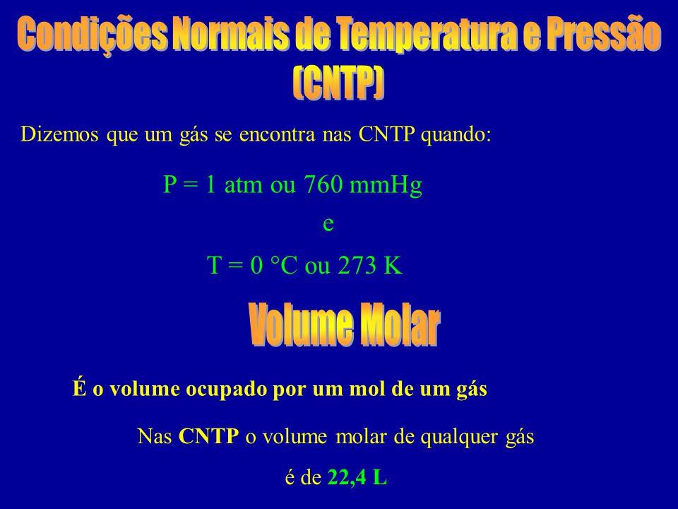 Dizemos que um gás se encontra nas CNTP quando: P = 1 atm ou 760 mmHg T = 0 °C ou 273 K e É o volume ocupado por um mol de um gás Nas CNTP o volume mo