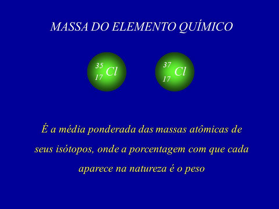 MASSA DO ELEMENTO QUÍMICO É a média ponderada das massas atômicas de seus isótopos, onde a porcentagem com que cada aparece na natureza é o peso Cl 17