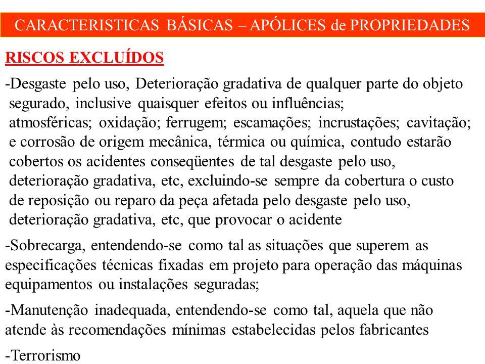 CARACTERISTICAS BÁSICAS – APÓLICES de PROPRIEDADES RISCOS EXCLUÍDOS -Desgaste pelo uso, Deterioração gradativa de qualquer parte do objeto segurado, i