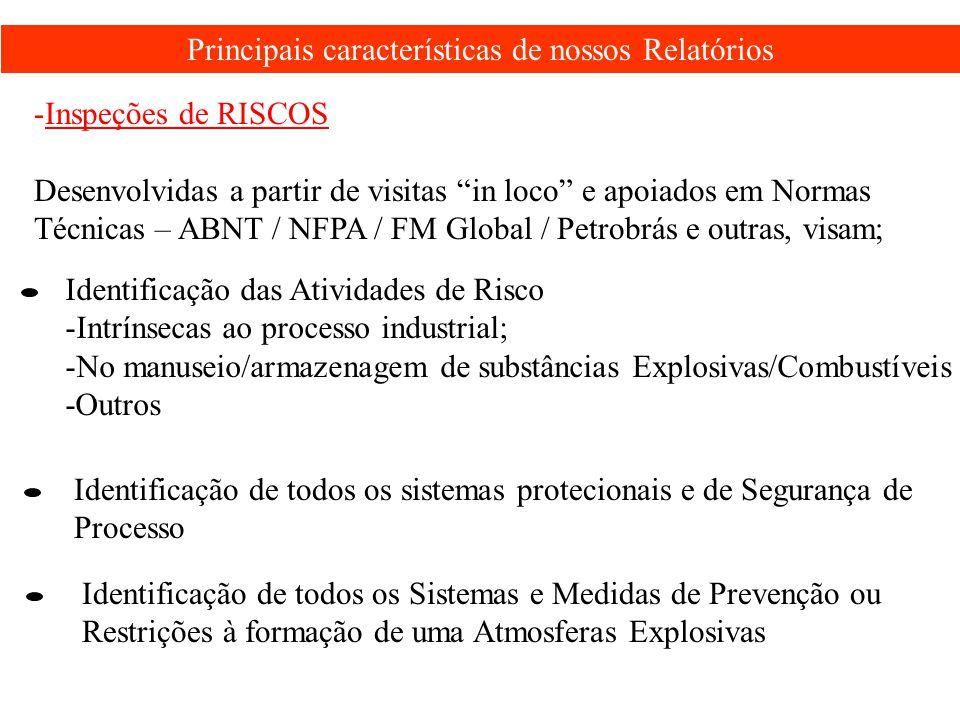 """Principais características de nossos Relatórios -Inspeções de RISCOS Desenvolvidas a partir de visitas """"in loco"""" e apoiados em Normas Técnicas – ABNT"""