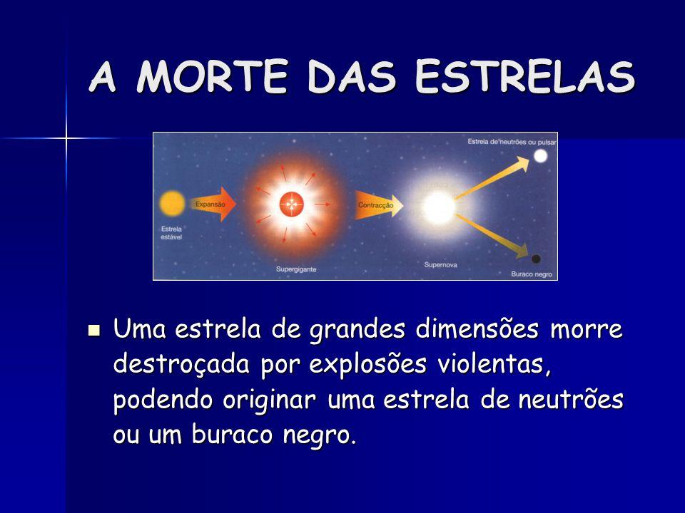 A MORTE DAS ESTRELAS Uma estrela de grandes dimensões morre destroçada por explosões violentas, podendo originar uma estrela de neutrões ou um buraco
