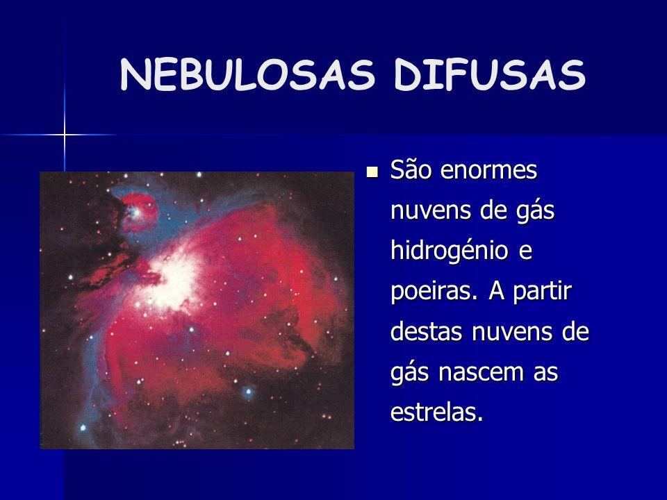 NEBULOSAS DIFUSAS São enormes nuvens de gás hidrogénio e poeiras. A partir destas nuvens de gás nascem as estrelas.