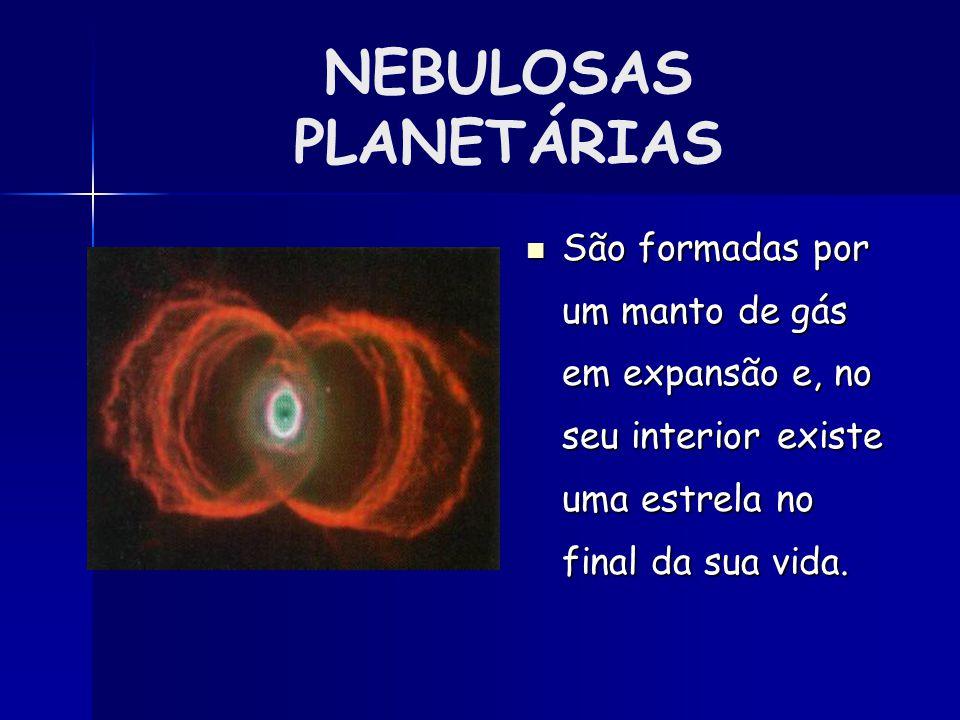 NEBULOSAS PLANETÁRIAS São formadas por um manto de gás em expansão e, no seu interior existe uma estrela no final da sua vida.