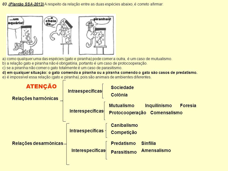03.(Plantão SSA-2013) A respeito da relação entre as duas espécies abaixo, é correto afirmar: a) como qualquer uma das espécies (gato e piranha) pode
