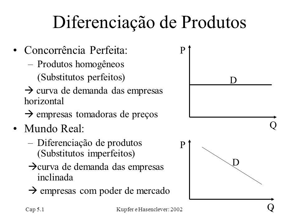 Cap 5.1Kupfer e Hasenclever: 20021 Diferenciação de Produtos Concorrência Perfeita: –Produtos homogêneos (Substitutos perfeitos)  curva de demanda da