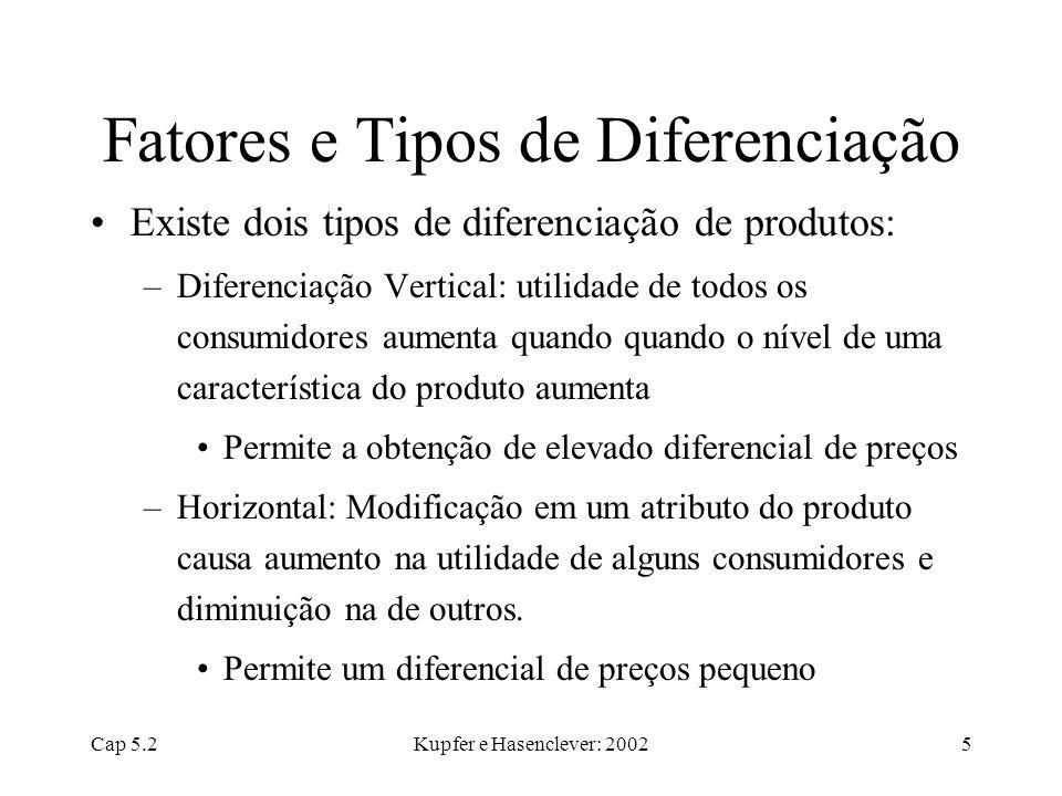 Cap 5.2Kupfer e Hasenclever: 20025 Fatores e Tipos de Diferenciação Existe dois tipos de diferenciação de produtos: –Diferenciação Vertical: utilidade