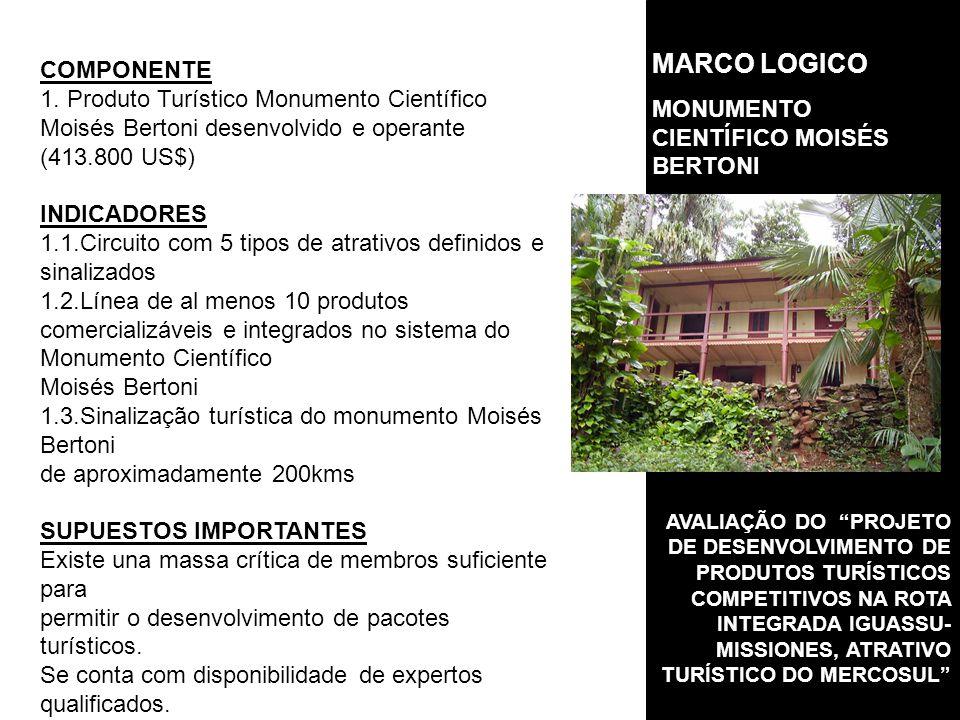 AVALIAÇÃO DO PROJETO DE DESENVOLVIMENTO DE PRODUTOS TURÍSTICOS COMPETITIVOS NA ROTA INTEGRADA IGUASSU- MISSIONES, ATRATIVO TURÍSTICO DO MERCOSUL COMPONENTE 1.